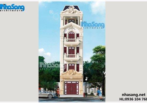 Mẫu nhà ống đẹp 5 tầng mặt tiền 5m kiến trúc Pháp BT14170