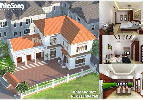 Mẫu thiết kế nhà đẹp 2 tầng chữ L BT14129 - kiến trúc biệt thự 3 tầng