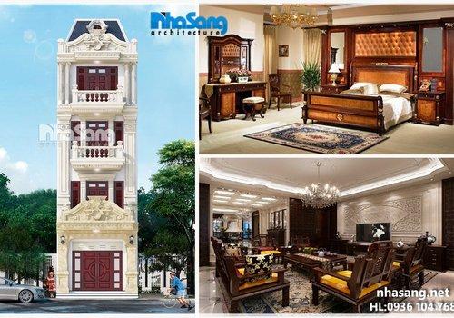 Mẫu thiết kế nhà phố 4 tầng mặt tiền 5m5 BT14188 kiến trúc Pháp