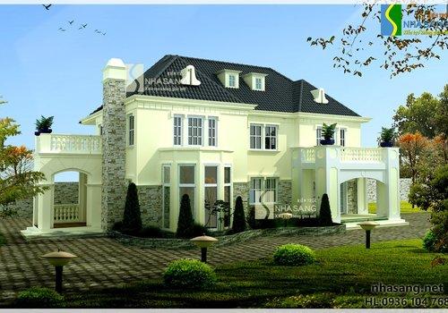 Mẫu thiết kế Nhà vườn đẹp 2 tầng BT14132