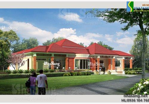 Mẫu thiết kế Nhà vườn đẹp 1 tầng BT14135