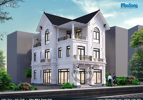 Mẫu thiết kế Villa đẹp sang trọng kiểu Châu âu hiện đại BT112