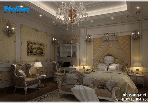 Thiết kế nội thất phòng ngủ biệt thự kiểu Pháp