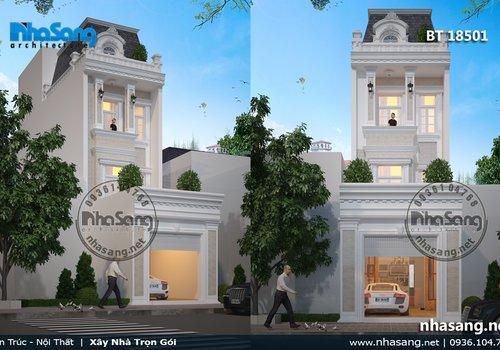 mẫu thiết kế nhà ống nhà lô phố kiến trúc kiểu pháp BT18501