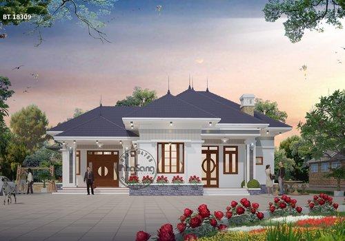 Mẫu nhà vườn cấp 4 đẹp kiểu dáng Châu Âu BT18309 dưới 1 tỷ