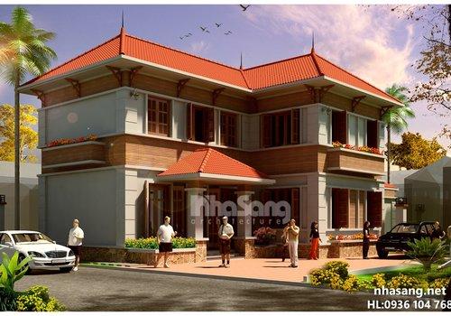 Mẫu thiết kế biệt thự Nhà vườn đẹp 2 tầng chữ L BT14160- biệt thự phố kiểu pháp