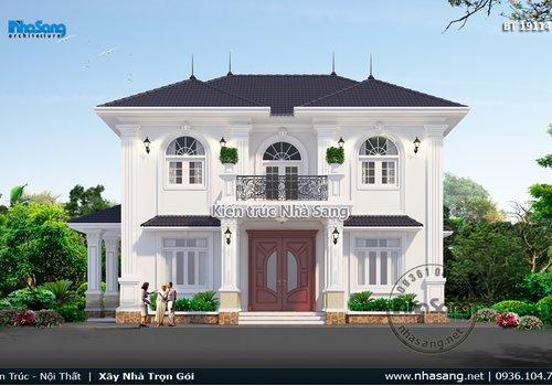 Thiết kế nhà vườn tân cổ điển Châu Âu 2 tầng đẹp 12m x 9.5m BT19114