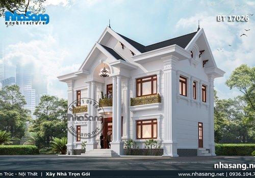 Mẫu thiết kế nhà vườn 120m2 sàn BT17026