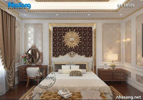 Mẫu thiết kế nội thất biệt thự kiểu tân cổ gỗ tự nhiên sang trọng BT18105