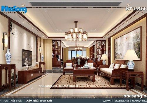 Mẫu phòng khách nhà ống 5m phong cách Á Đông NT16514