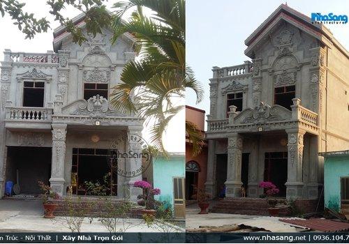 Hình ảnh thi công biệt thự 2 tầng tân cổ điển ông Quang - Hải Dương