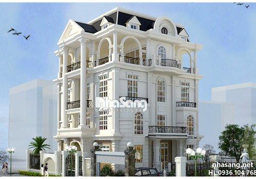 Thiết Kế Dinh thự 4 tầng kiến trúc kiểu  Pháp BT14158 - mẫu biệt thự 2 -3 tầng