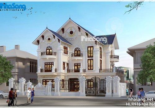 Thiết kế dinh thự kiểu Pháp 3 tầng BT16029