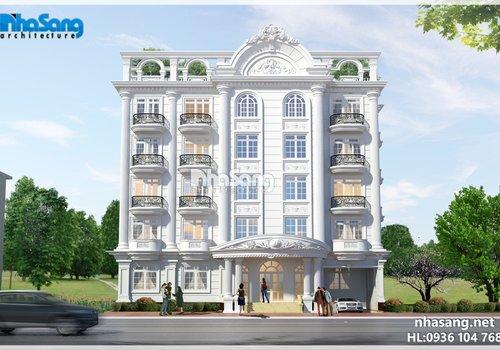 Thiết kế biệt thự khách sạn 6 tầng kiến trúc Pháp KS14173 đẹp