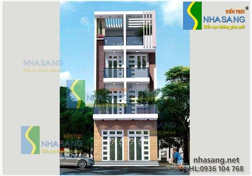 Mẫu thiết kế nhà lô phố song lập 4,5 tầng 6m x 21m - mẫu biệt thự kiểu pháp