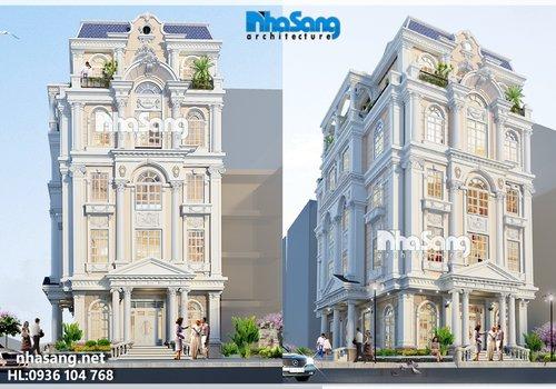 Mẫu biệt thự Pháp đẹp: Thiết kế nhà ở và kinh doanh karaoke 5 tầng mặt tiền 8,6m BT14185