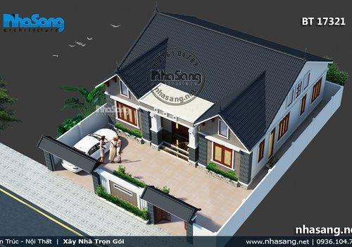 5 kiểu Biệt thự vườn 1 tầng 4 phòng ngủ BT17321 | 999 Nhà vườn đẹp cập nhật liên tục