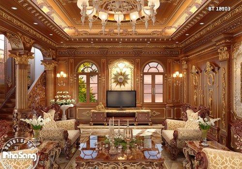Thiết kế nội thất biệt thự cổ điển gỗ Hương BT18103