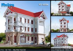 Thiết kế nhà biệt thự kiểu Pháp đẹp trên đất 12m BT18104