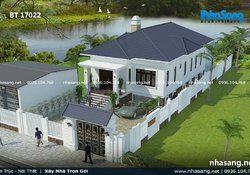 Thiết kế nhà 1.5 tầng 4 phòng ngủ BT17022