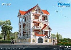 Thiết kế Nhà Biệt thự Tân cổ điển kiểu pháp đẹp 4 tầng 1,2m x 11,3m BT14130- mẫu nhà đẹp