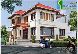 Thiết kế nhà biệt thự đẹp 2 tầng 12x12,5m BT14074 - thiết kế nhà phố kiểu pháp