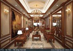 Thiết kế nội thất biệt thự tân cổ điển với gỗ gõ BT17357