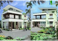 Thiết kế Nhà biệt thự hiện đại 2,5 tầng 10m x 11m BT14150