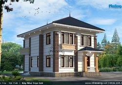 Thiết kế biệt thự vườn 150m2 2 tầng mặt tiền 12m x 13m BT136