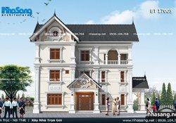 Mẫu biệt thự kiểu Pháp 2 mặt tiền mái thái BT17005