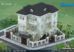 Mẫu thiết kế Nhà 3 tầng đẹp 13,3m x 13,3m BT14140
