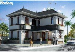 Nhà vườn chữ L 2 tầng mái thái 90m2 ấm áp tình quê BT15003