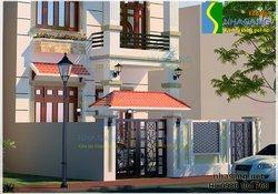 Thiết kế  nhà biệt thự 2 tầng BT14050 - kiến trúc nhà phố kiểu pháp