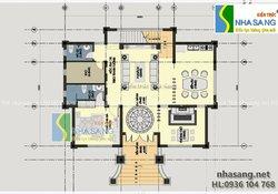 Mẫu Biệt thự Tân cổ điển 2 tầng đẹp 13,5m x 9,5m BT14124