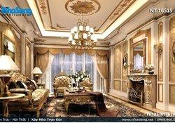 Mẫu phòng khách đẹp nhà ống 5m phong cách tân cổ điển NT16515