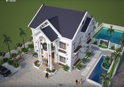 Mẫu thiết kế nhà vườn đẹp 2 tầng ở nông thôn BT18310 - nhà đẹp cấp 4