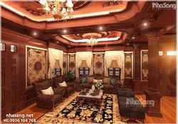 Thiết kế nội thất 100% gỗ ý tưởng phủ Hòa Thân NT14180