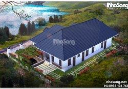 Nhà vườn đẹp chữ L phong cách Châu Âu 1 tầng BT16004