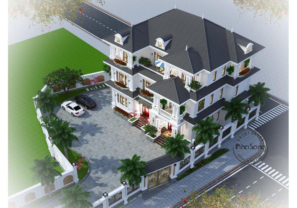 Mẫu thiết kế nhà biệt thự tân cổ điển 3 tầng mái thái nhẹ nhàng BT20003