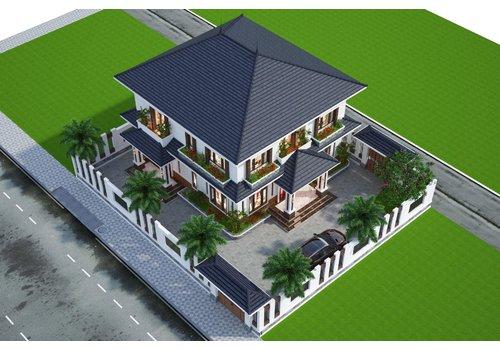 Biệt thự vuông phong cách nhà vườn Châu Âu mái thái có 2 sảnh cưc đẹp BT20002