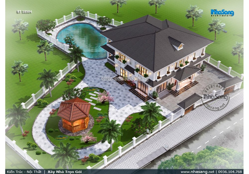 Mẫu biệt thự nhà vườn nghỉ dưỡng cuối tuần 6 phòng ngủ thiết kế đăng đối BT20008