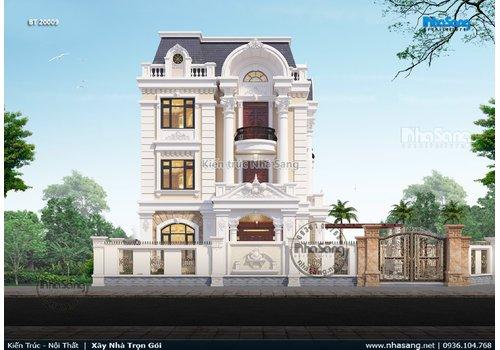 Mẫu biệt thự tân cổ điển 3 tầng mặt tiền 9m đẹp BT20009