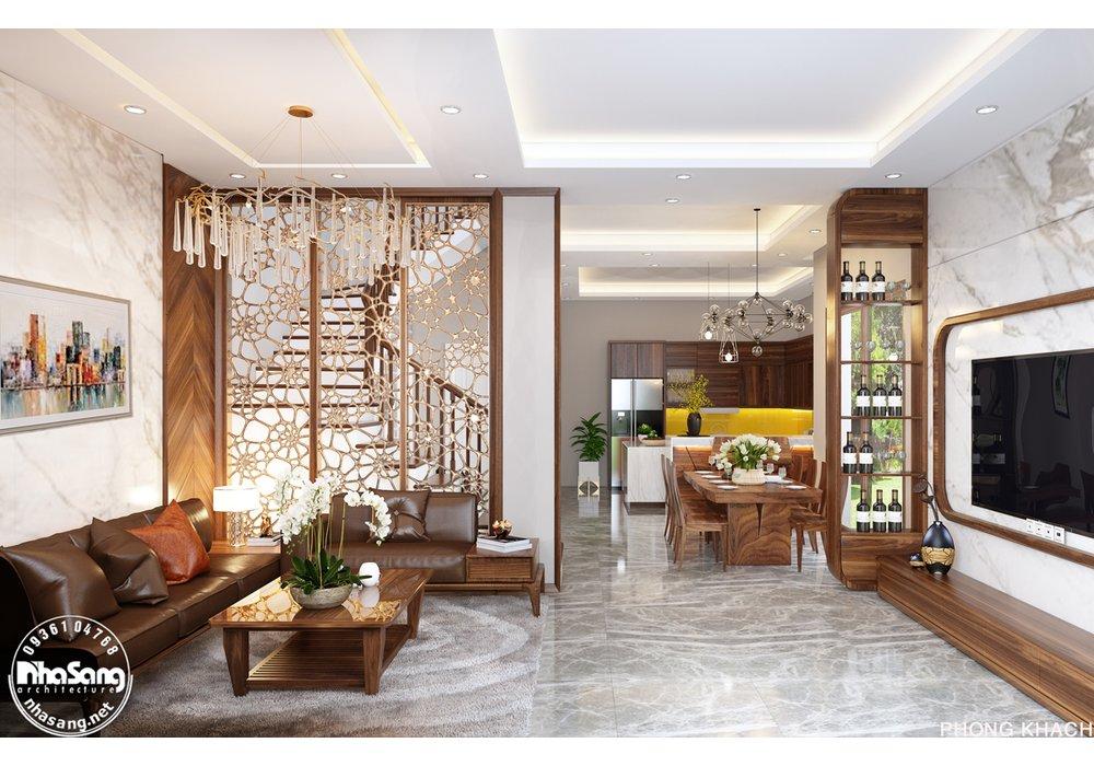 Thiết kế nội thất biệt thự song lập 4 tầng phong cách hiện đại mặt tiền 10m x 15m cuốn hút NT20012