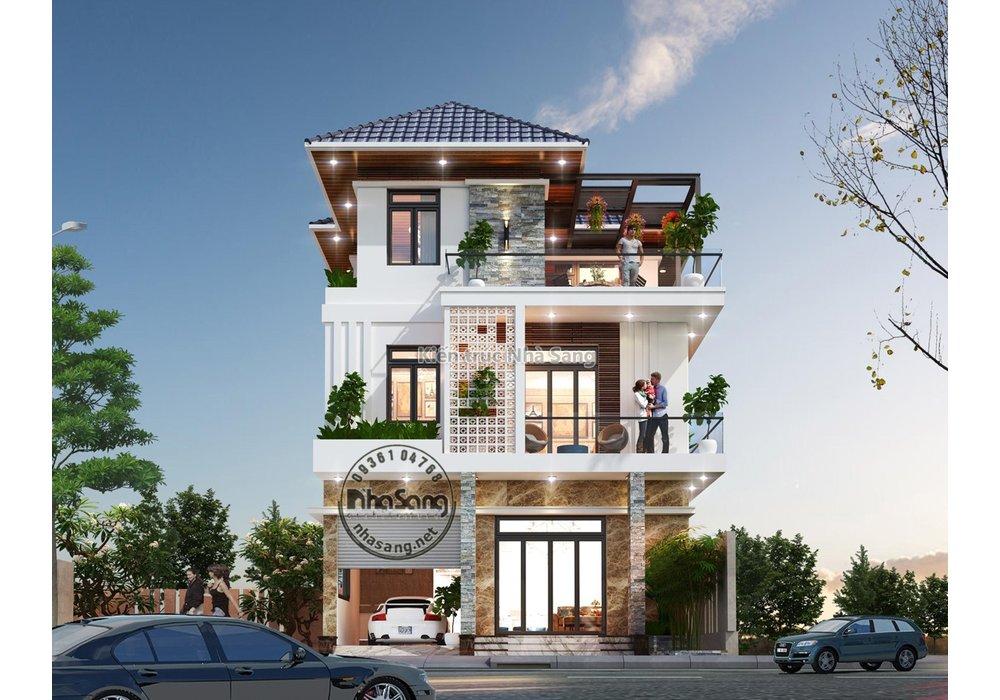 Mẫu biệt thự hiện đại 3 tầng mái thái mặt tiền 8m cao cấp BT2014