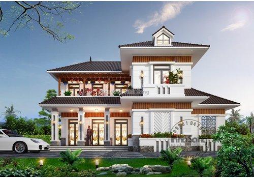 Mẫu nhà 2 tầng diện tích 100m2 có 5 phòng ngủ xây dựng tại nông thôn cực đẹp và rẻ BT2013