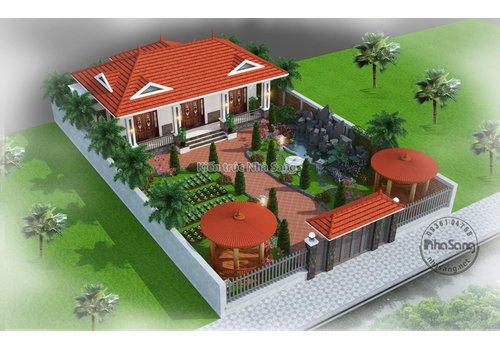 Mẫu nhà thờ 3 gian kết hợp nghỉ dưỡng người già đẹp BT2022 | Mẫu biệt thự vườn 1 tầng