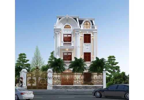 Thiết kế biệt thự tân cổ điển Pháp 3 tầng mặt tiền 8m sang trọng BT2023