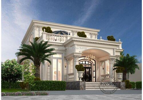 Thiết kế nhà villa 2 tầng tân cổ điển kết hợp sân vườn đẹp BT2027