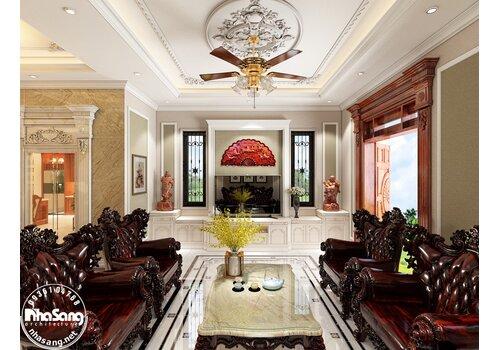 Hoàn thiện nội thất biệt thự phố 4 tầng 1 tầng hầm theo phong cách tân cổ điển tại Hà Nội BT2030