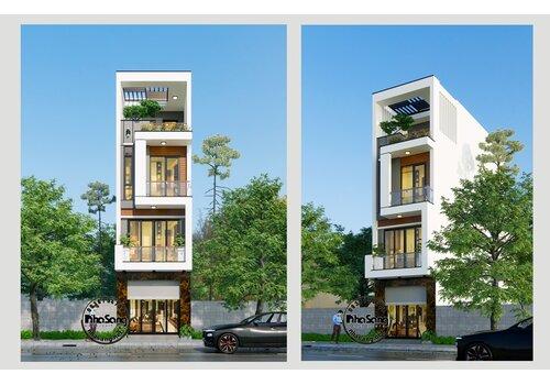 Mẫu nhà lô phố hiện đại 4 tầng 05 phòng ngủ để ở và kinh doanh BT2101